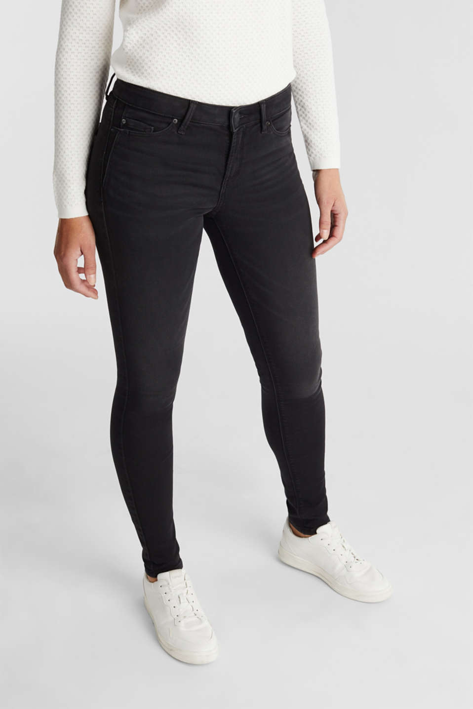 Esprit - Black denim jeans in tracksuit fabric