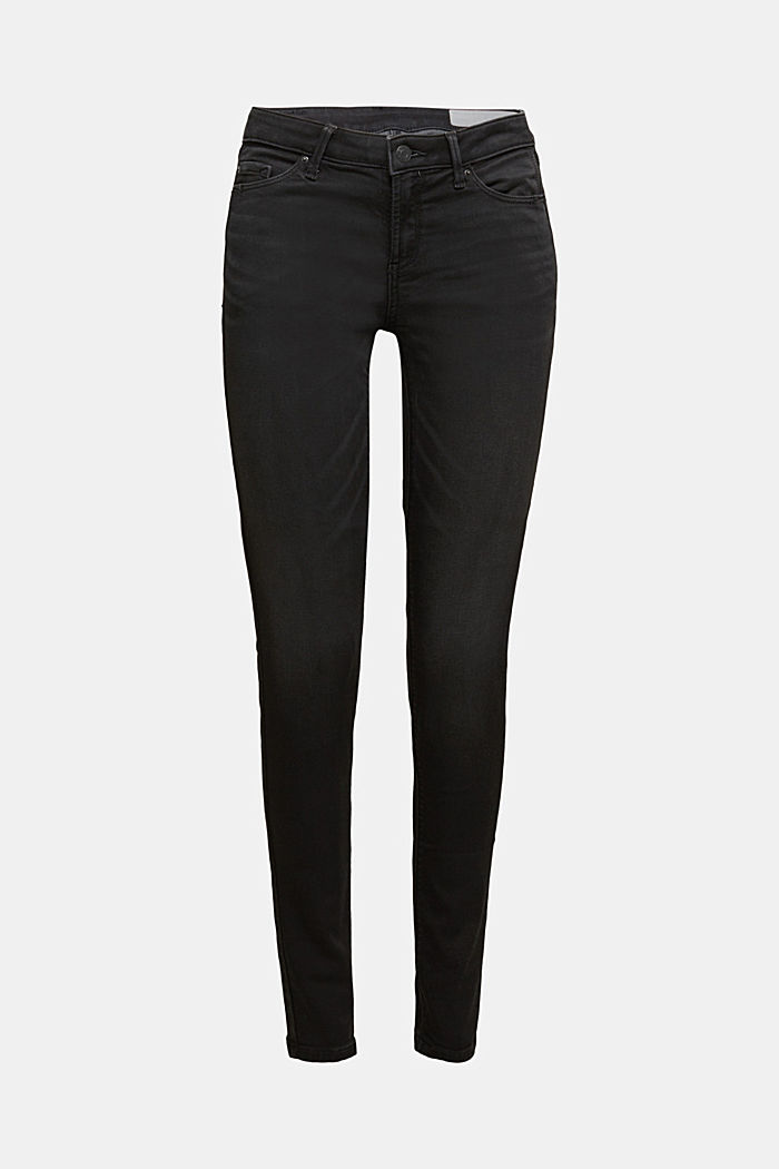 Black denim jeans in tracksuit fabric