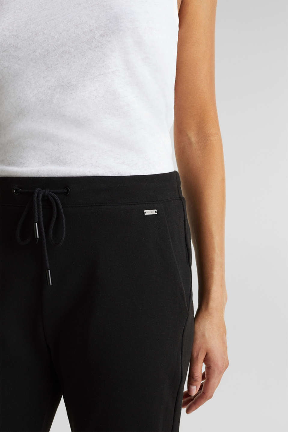 Tracksuit bottoms made of stretch jersey, BLACK, detail image number 1