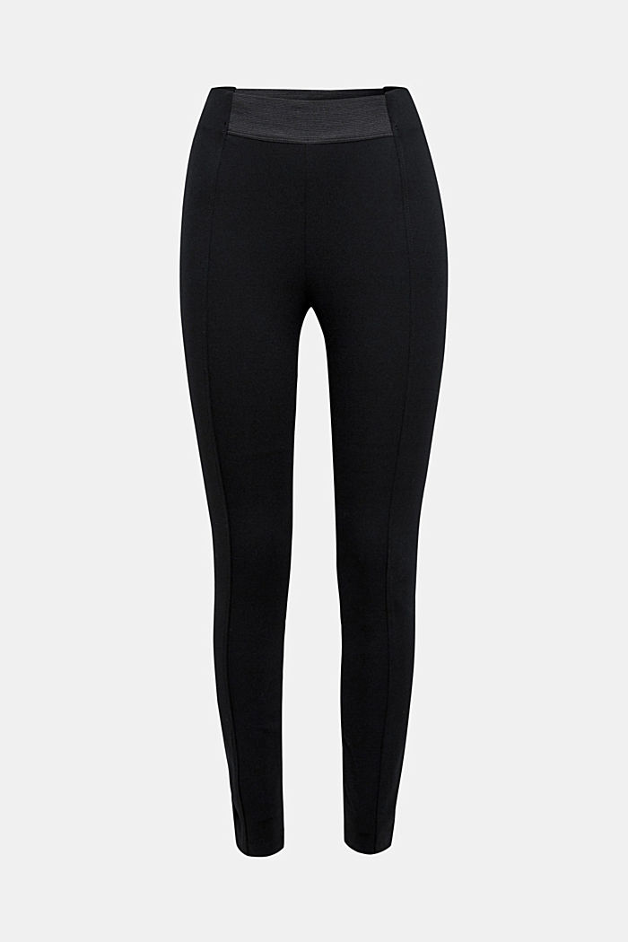 Stretch trousers made of punto jersey, BLACK, detail image number 0