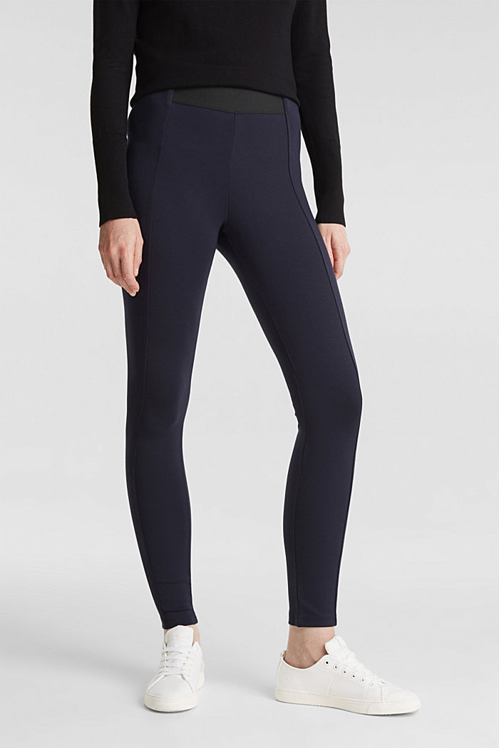 Stretch trousers made of punto jersey, NAVY, detail image number 0