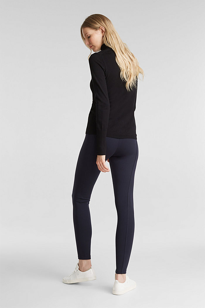 Stretch trousers made of punto jersey, NAVY, detail image number 3