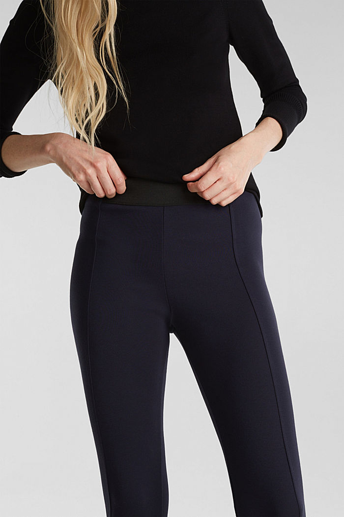 Stretch trousers made of punto jersey, NAVY, detail image number 2