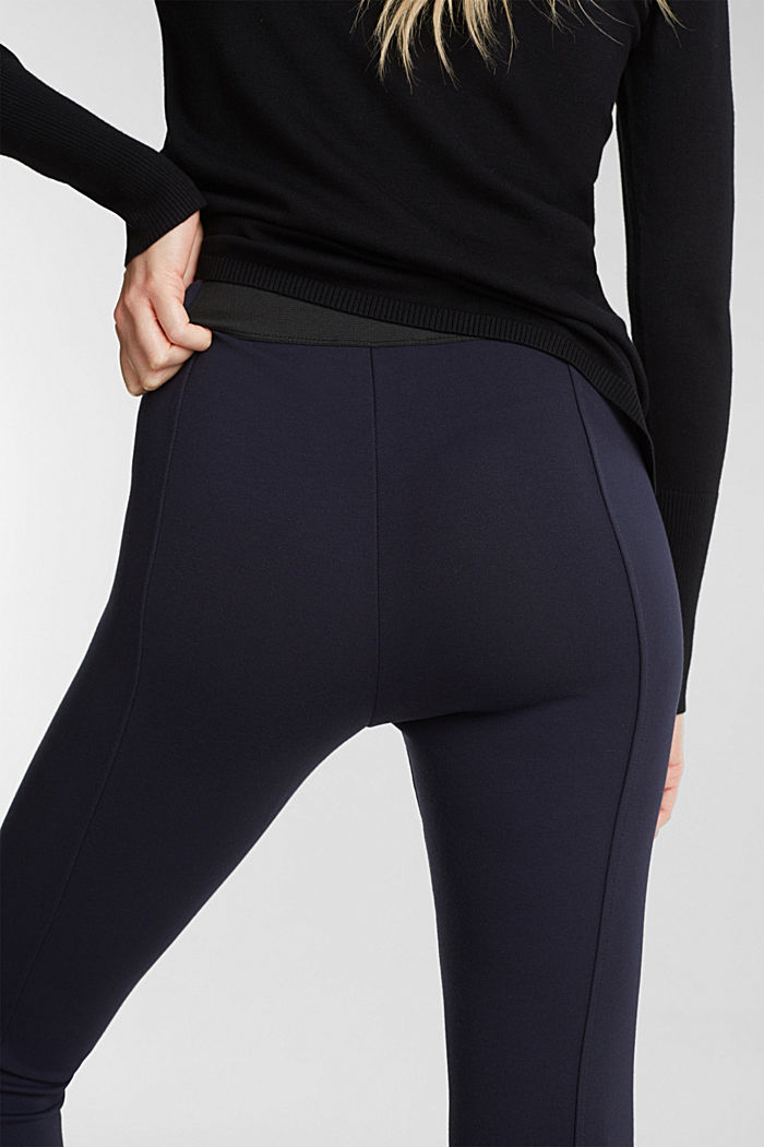 Stretch trousers made of punto jersey, NAVY, detail image number 5