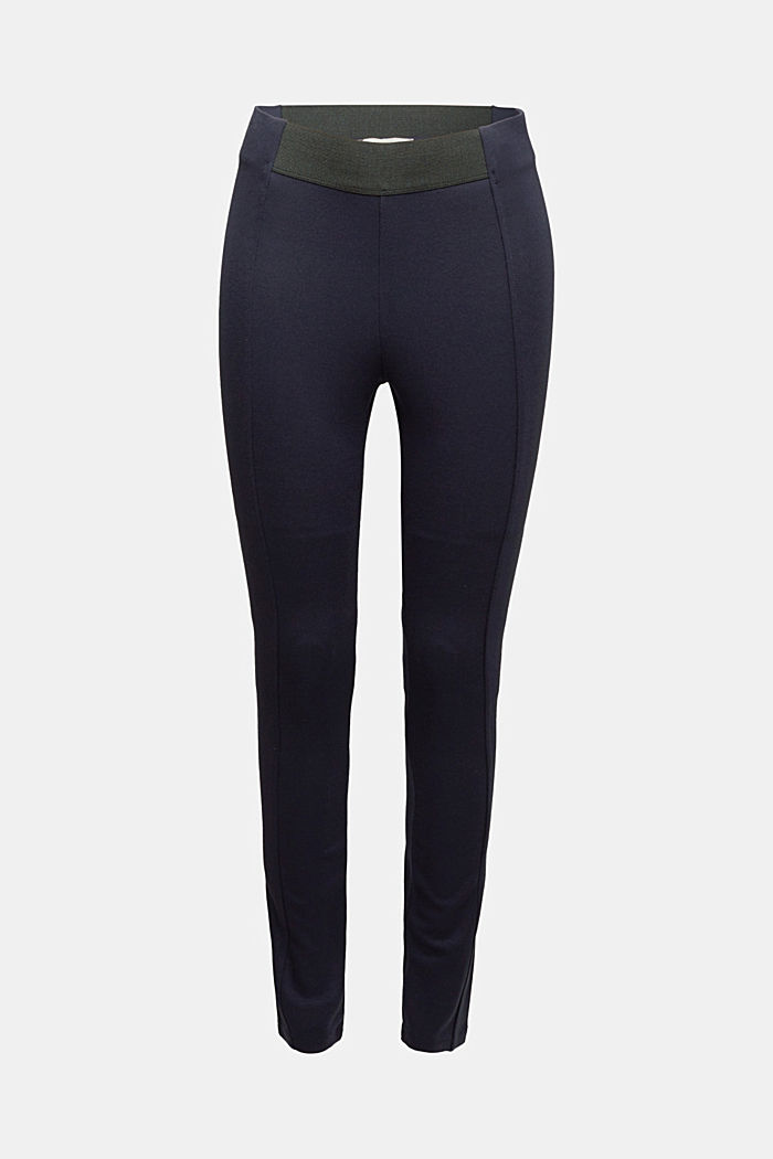 Stretch trousers made of punto jersey, NAVY, detail image number 6