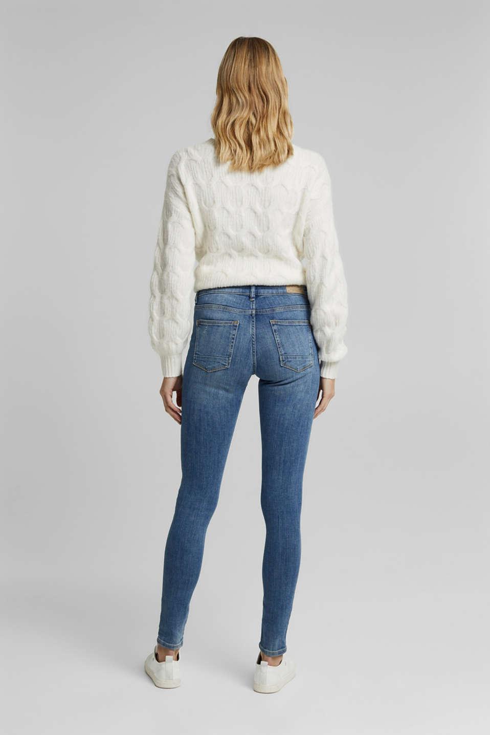 Super stretch jeans with vintage effects, BLUE LIGHT WASH, detail image number 3