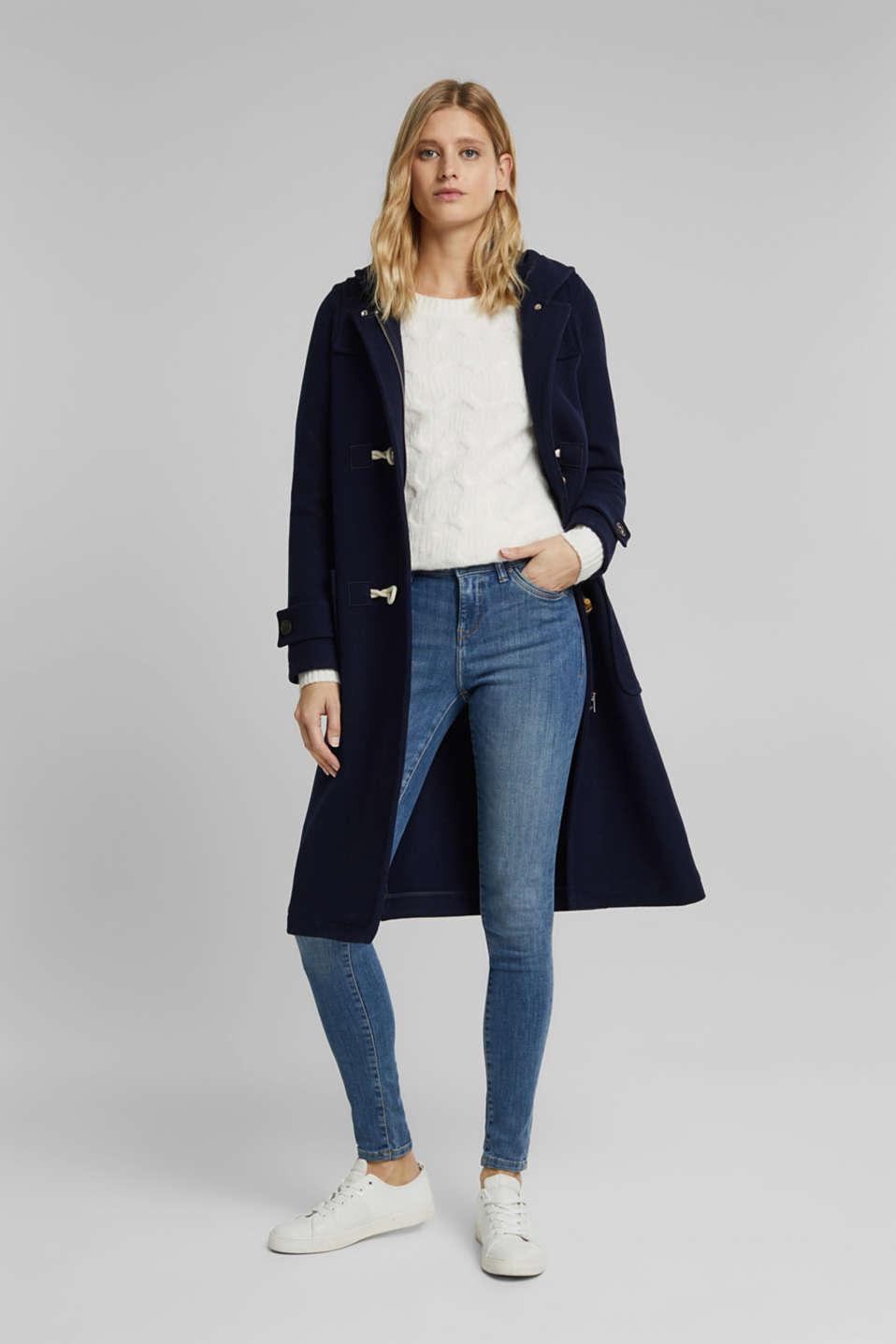 Super stretch jeans with vintage effects, BLUE LIGHT WASH, detail image number 1