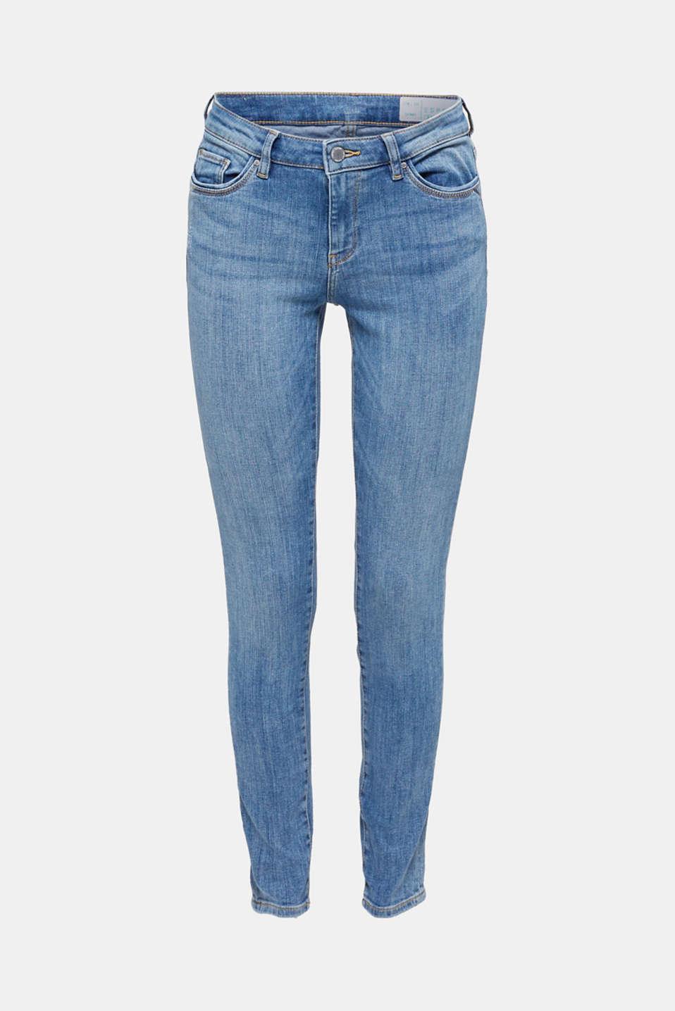 Super stretch jeans with vintage effects, BLUE LIGHT WASH, detail image number 6