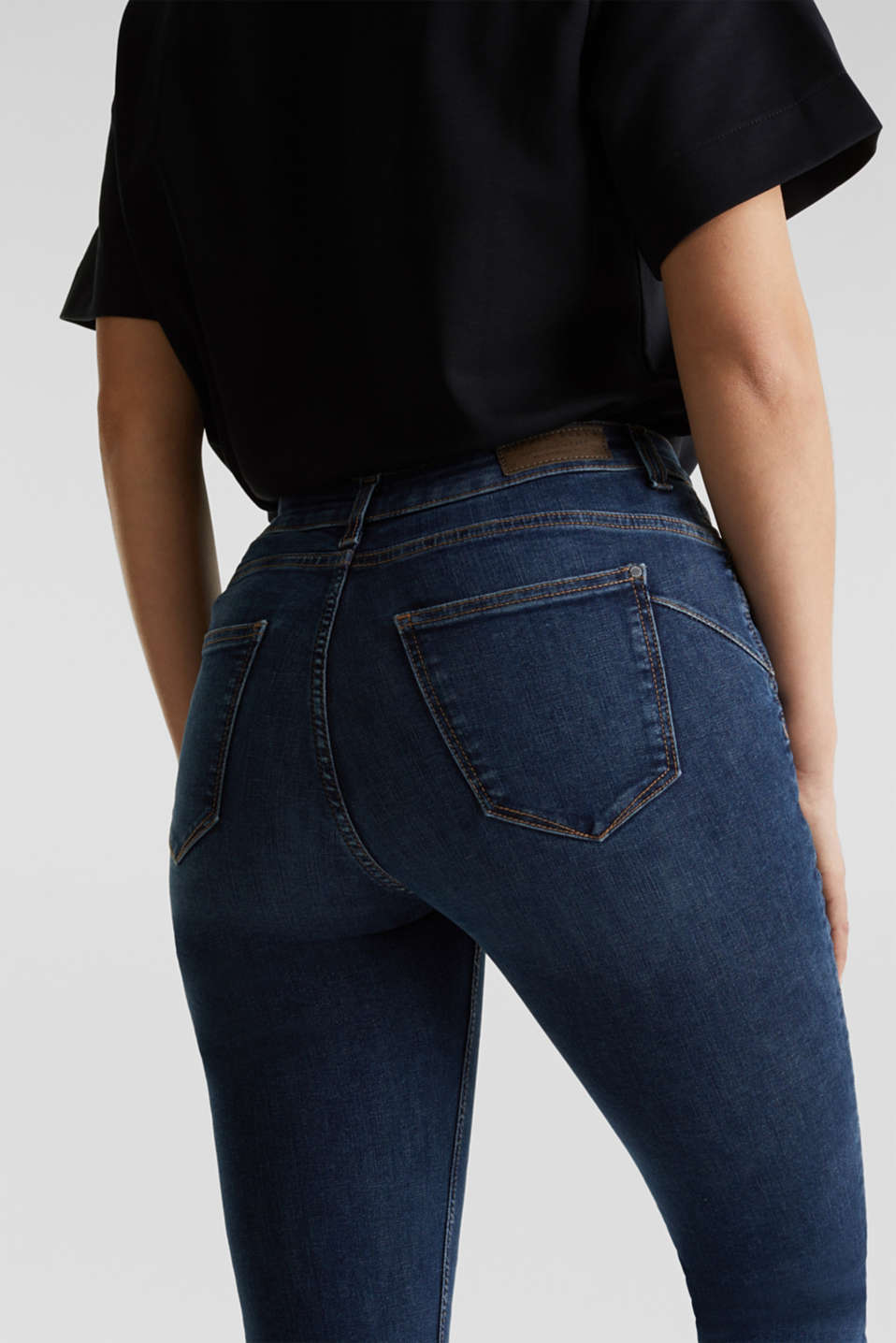 Shaping jeans with a high waistband, BLUE DARK WASH, detail image number 5