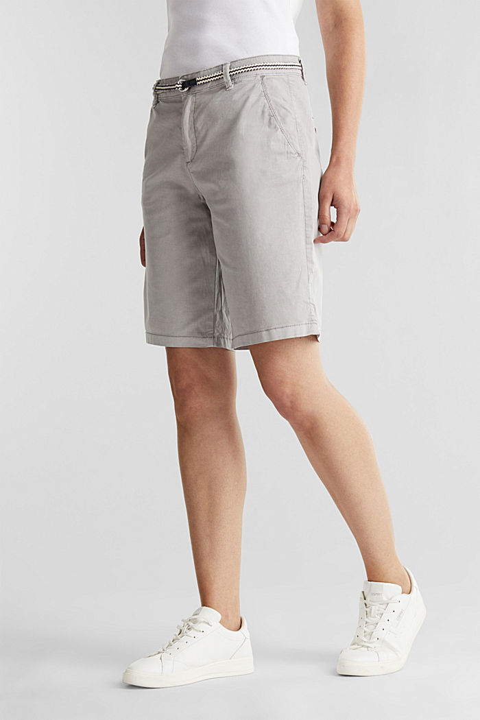 Stretch cotton Bermudas with a belt, LIGHT GREY, detail image number 0