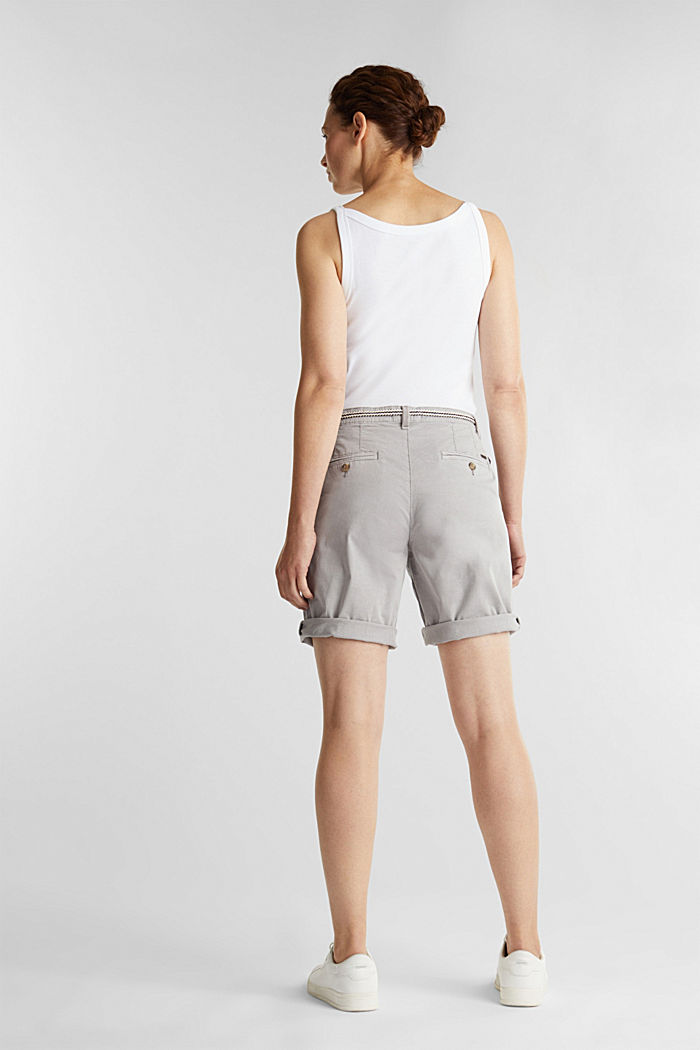 Stretch cotton Bermudas with a belt, LIGHT GREY, detail image number 3