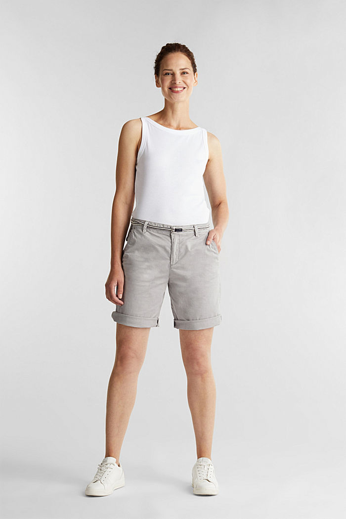 Stretch cotton Bermudas with a belt, LIGHT GREY, detail image number 1