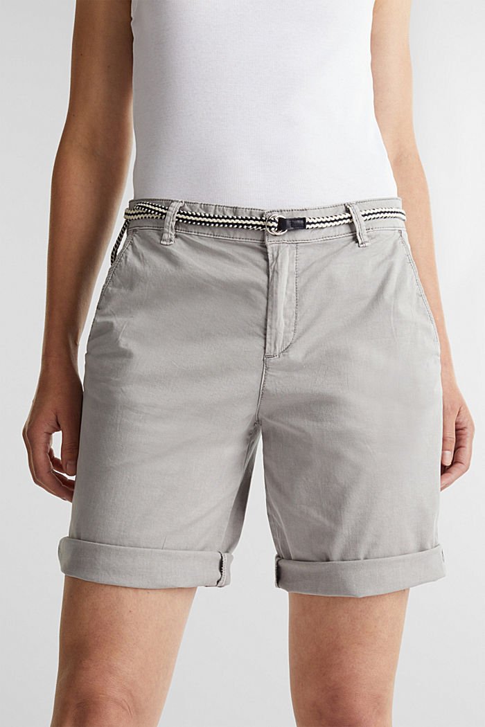 Stretch cotton Bermudas with a belt, LIGHT GREY, detail image number 2