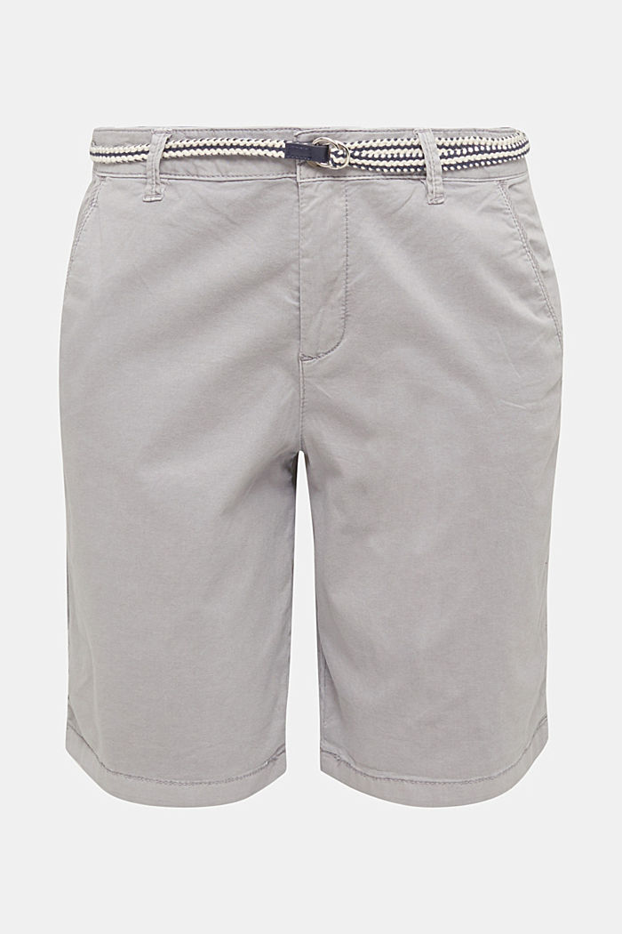 Stretch cotton Bermudas with a belt, LIGHT GREY, detail image number 5