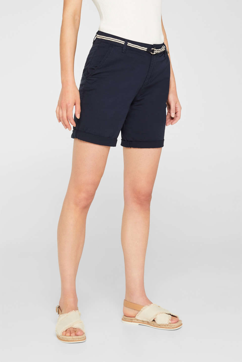 Stretch cotton Bermudas with a belt, NAVY, detail image number 6
