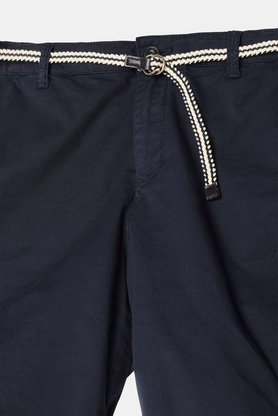 Stretch cotton Bermudas with a belt, NAVY, detail image number 4