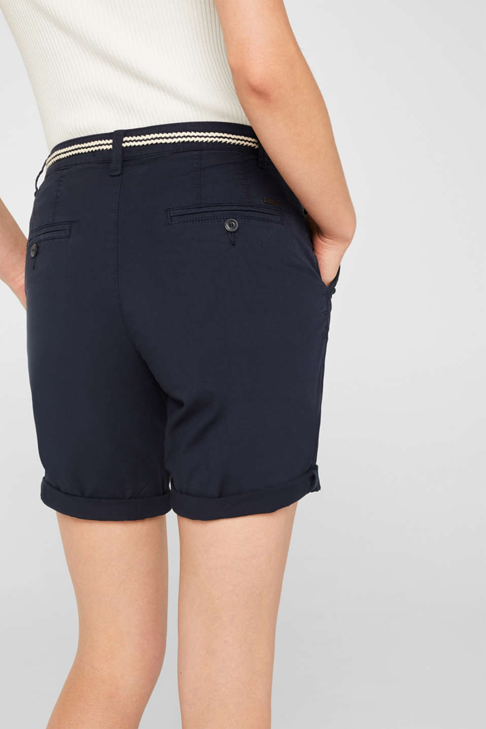 Stretch cotton Bermudas with a belt, NAVY, detail image number 5