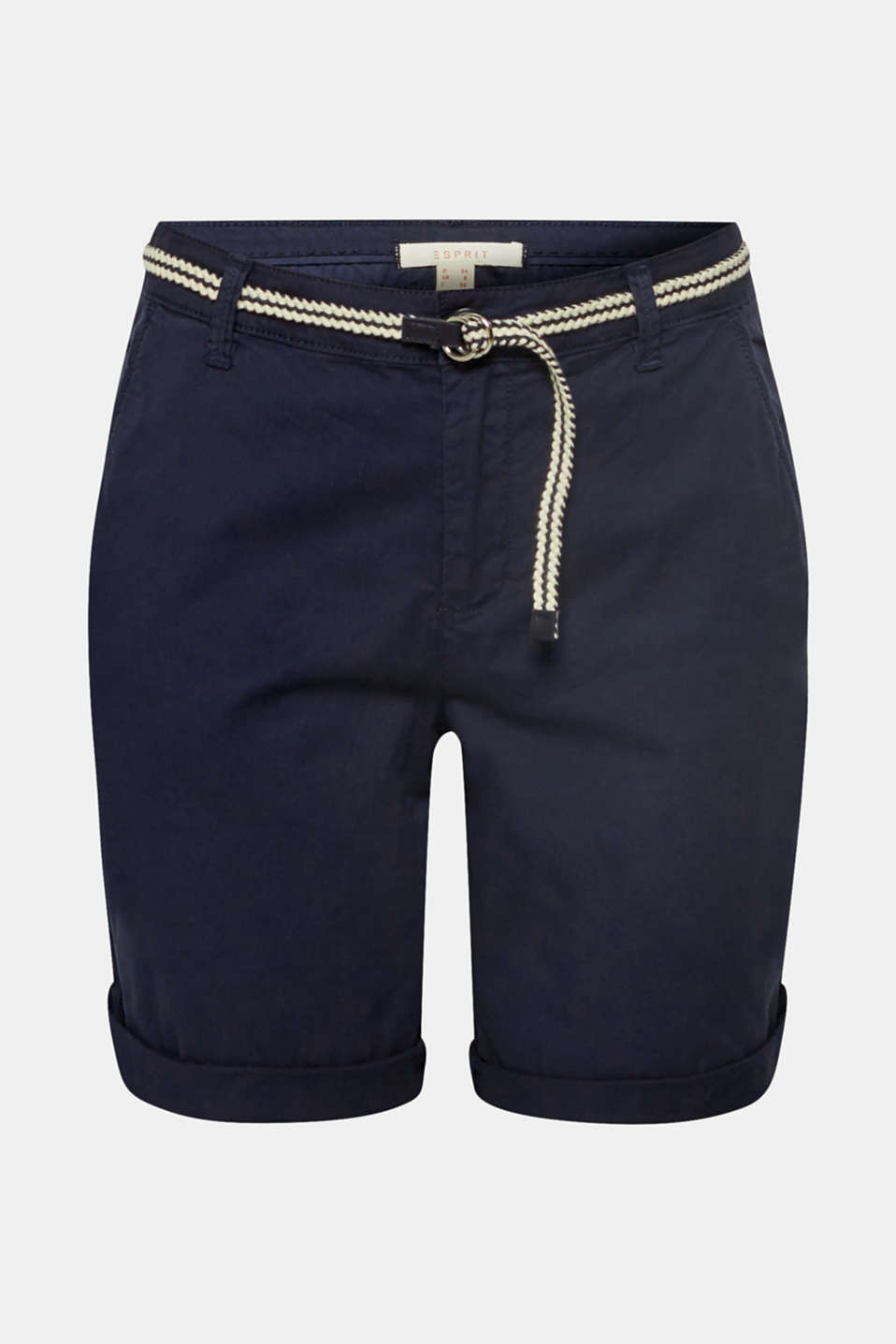 Stretch cotton Bermudas with a belt, NAVY, detail image number 7