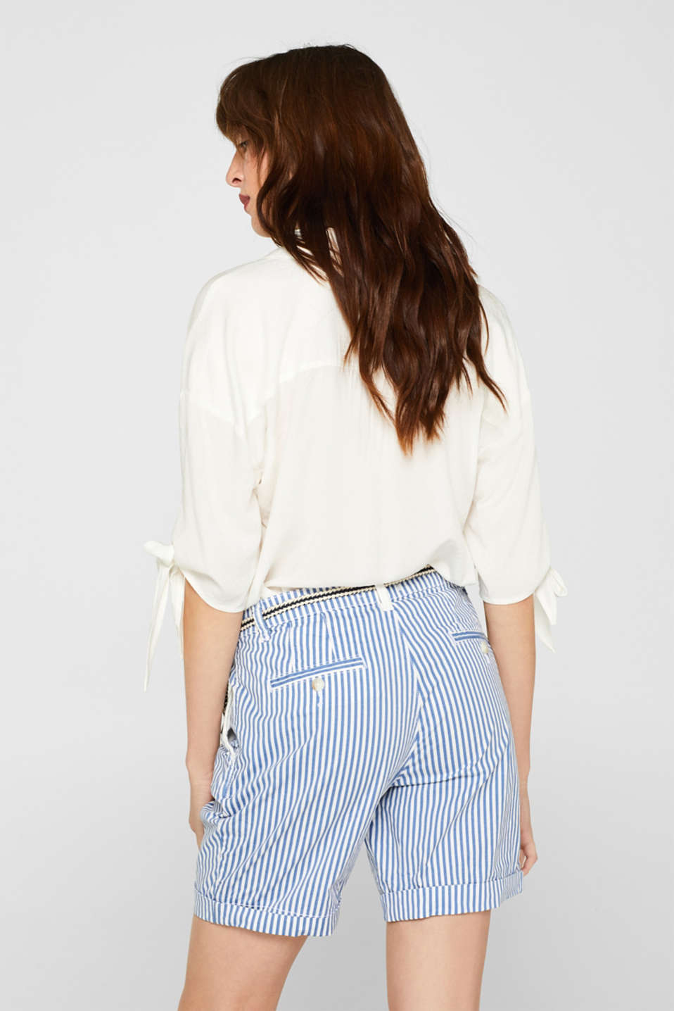 Striped stretch cotton shorts with a belt, BLUE, detail image number 3