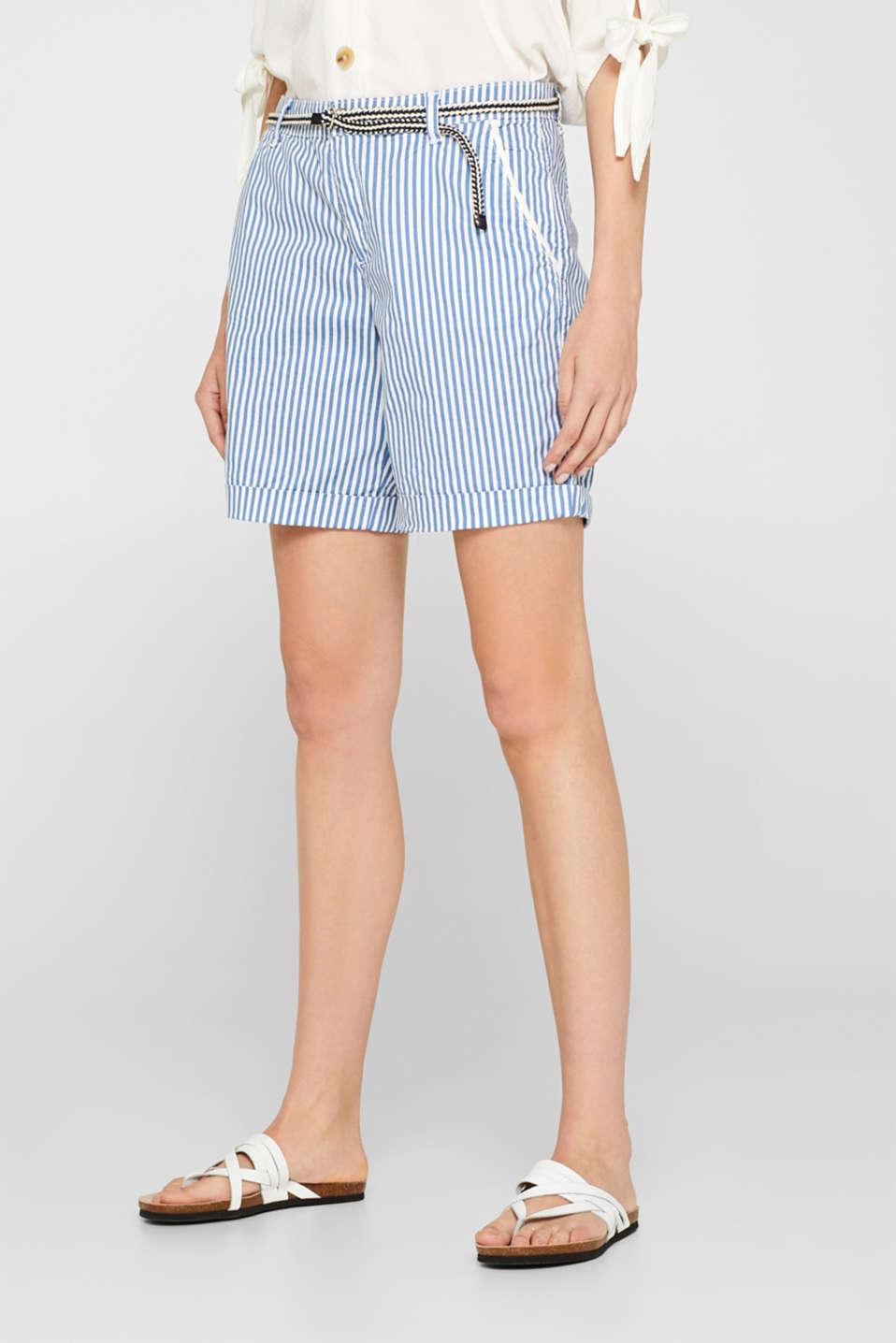 Striped stretch cotton shorts with a belt, BLUE, detail image number 5