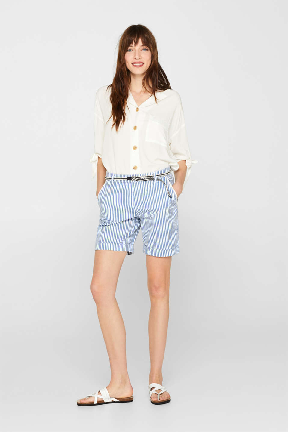 Striped stretch cotton shorts with a belt, BLUE, detail image number 1