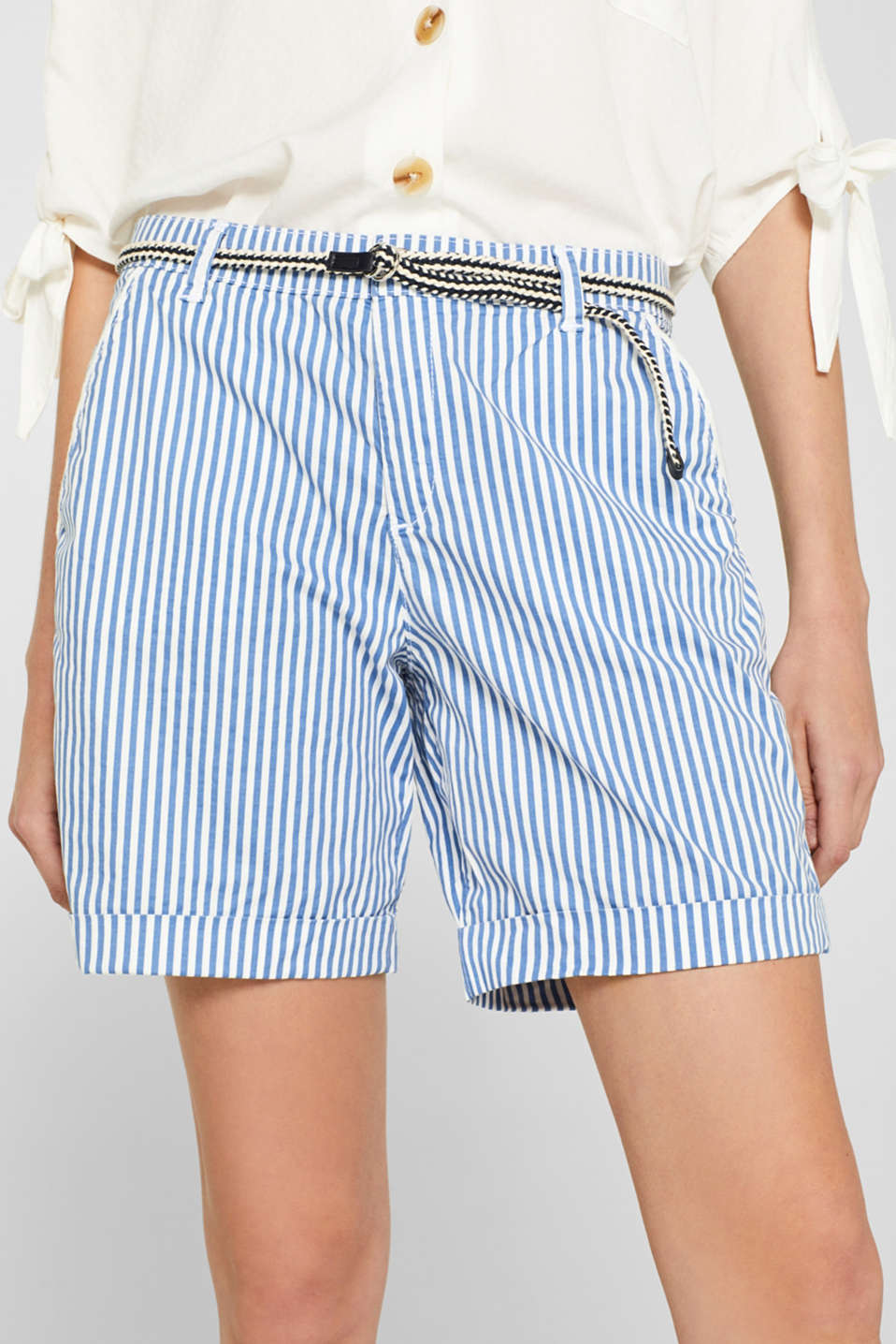 Striped stretch cotton shorts with a belt, BLUE, detail image number 2