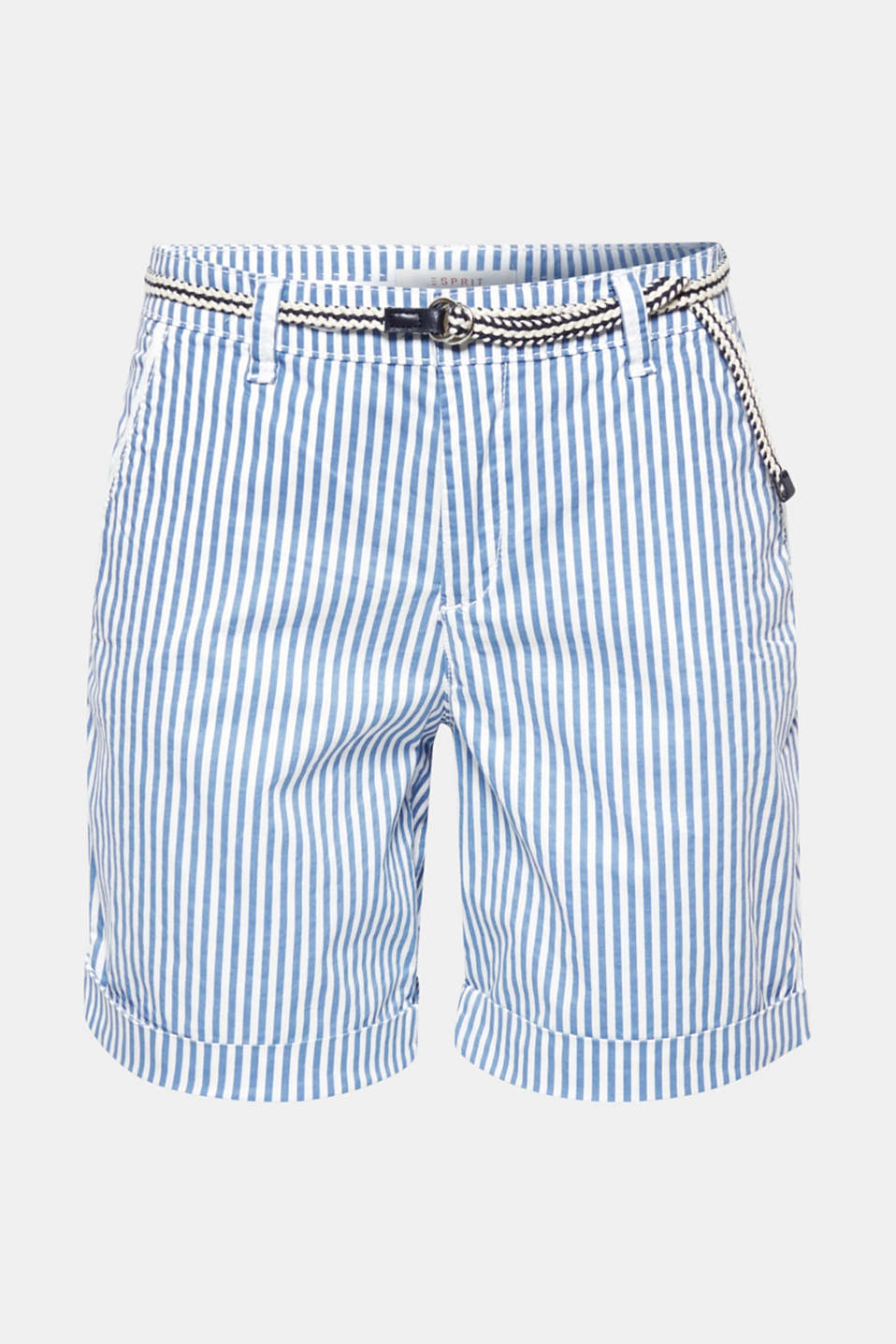 Striped stretch cotton shorts with a belt, BLUE, detail image number 6