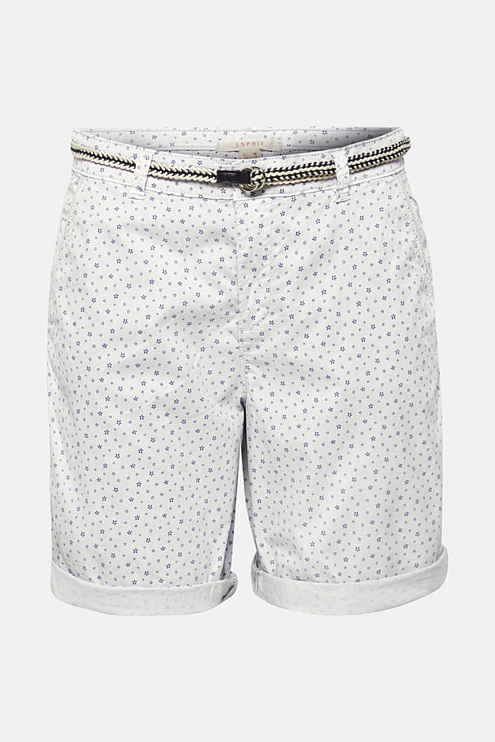 Printed stretch cotton shorts with a belt, PASTEL BLUE, detail image number 0