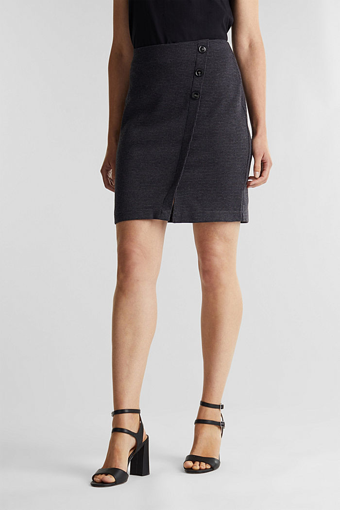 Jersey skirt with a herringbone pattern, GREY BLUE, detail image number 0