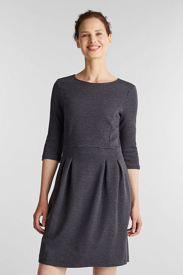 Stretch jersey dress with a jacquard pattern, GREY BLUE, detail image number 0