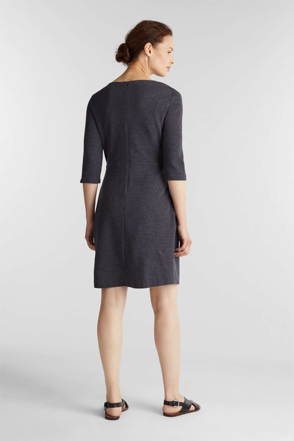 Stretch jersey dress with a jacquard pattern, GREY BLUE, detail image number 3