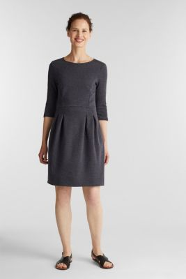 Stretch jersey dress with a jacquard pattern, GREY BLUE, detail