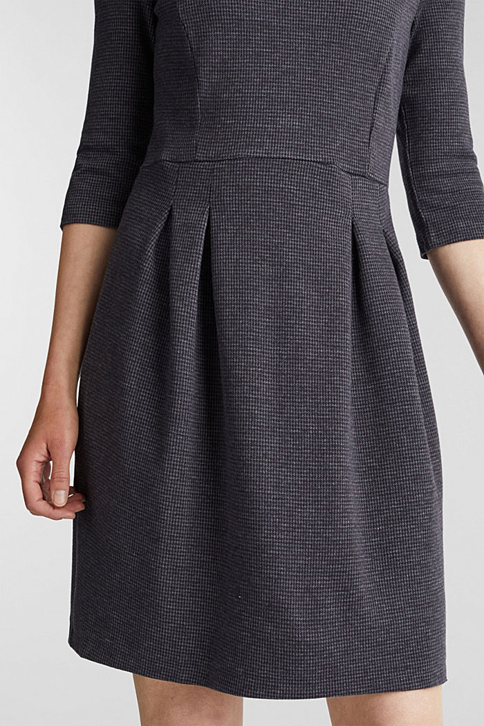 Stretch jersey dress with a jacquard pattern, GREY BLUE, detail image number 2
