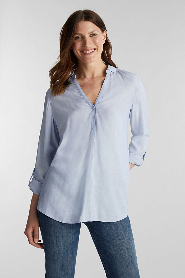 Blouse with Henley neckline, LIGHT BLUE, detail image number 0