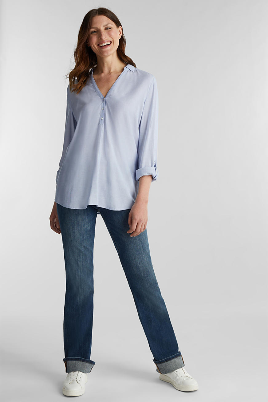 Blouse with Henley neckline