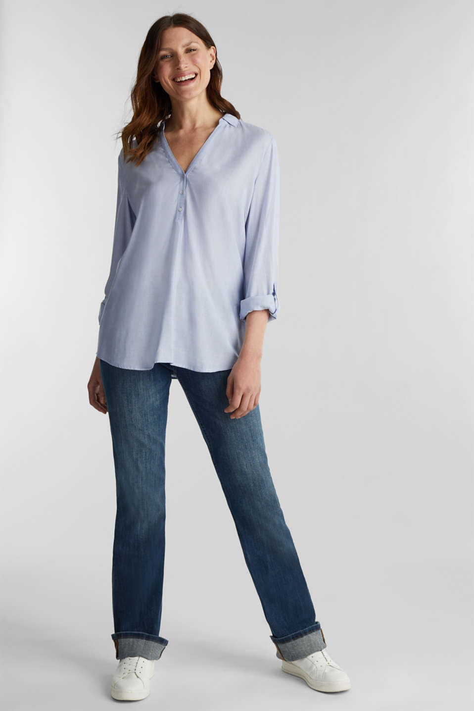 Blouse with Henley neckline, LIGHT BLUE, detail image number 1