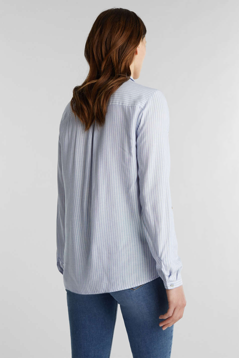 Shirt blouse with stripes and turn-up sleeves, PASTEL BLUE, detail image number 3