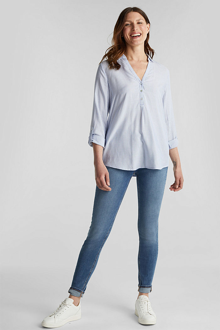 Striped blouse with turn-up sleeves, PASTEL BLUE, detail image number 1
