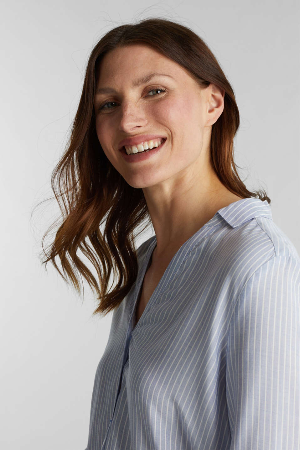 Striped blouse with turn-up sleeves, PASTEL BLUE, detail image number 5