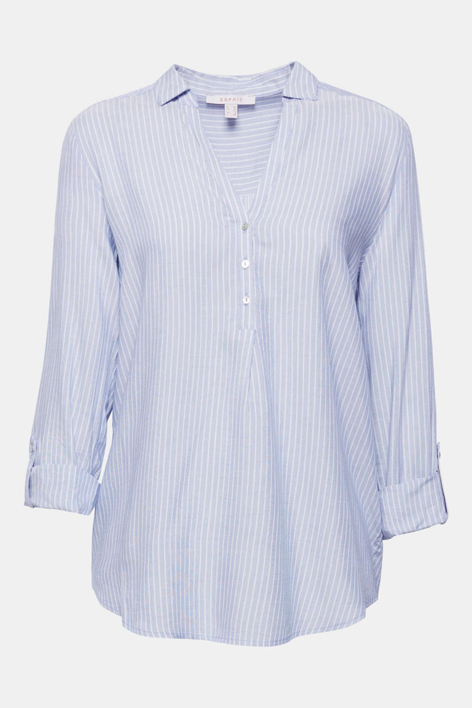 Shirt blouse with stripes and turn-up sleeves, PASTEL BLUE, detail image number 6