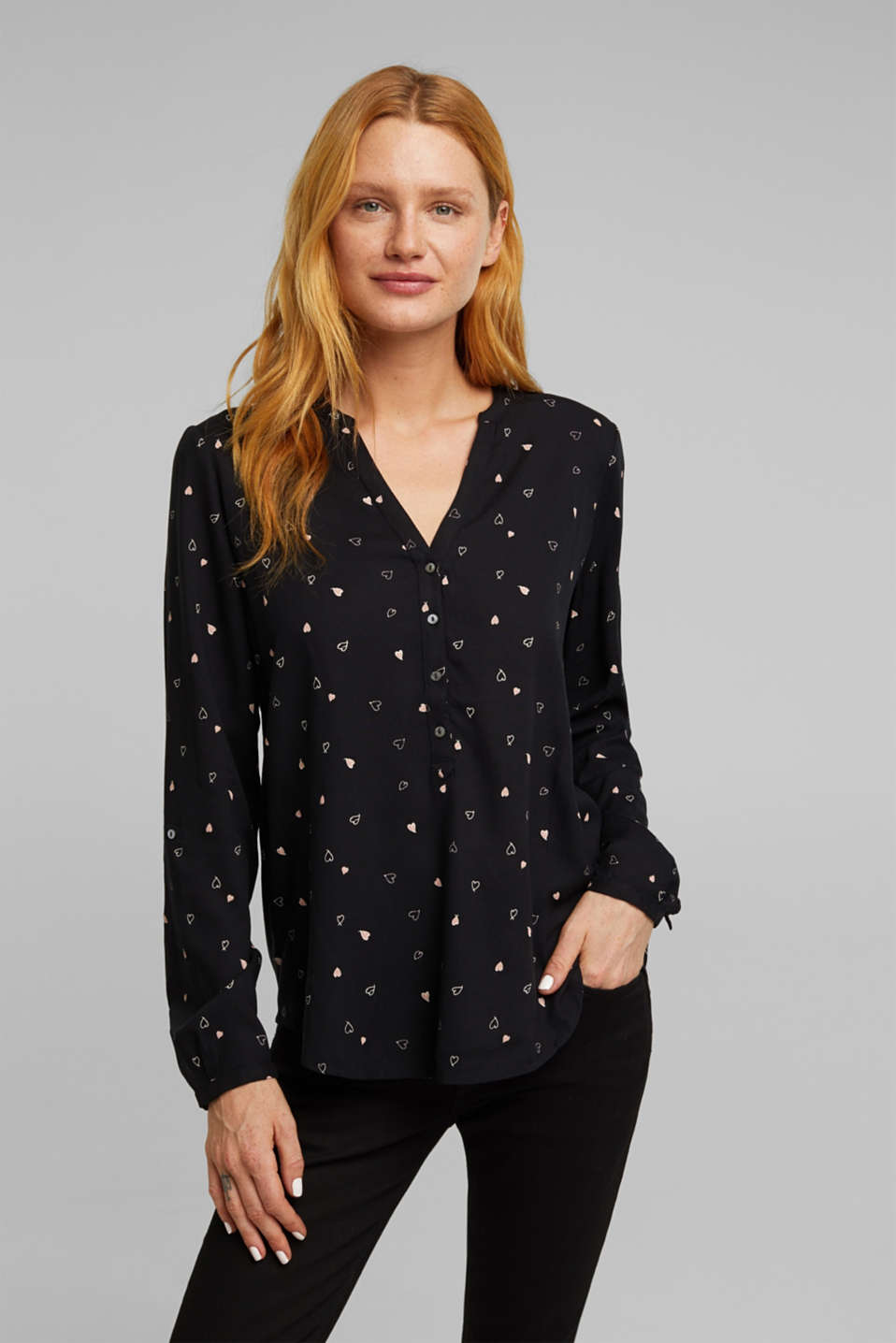 Esprit - Henley blouse with an all-over print