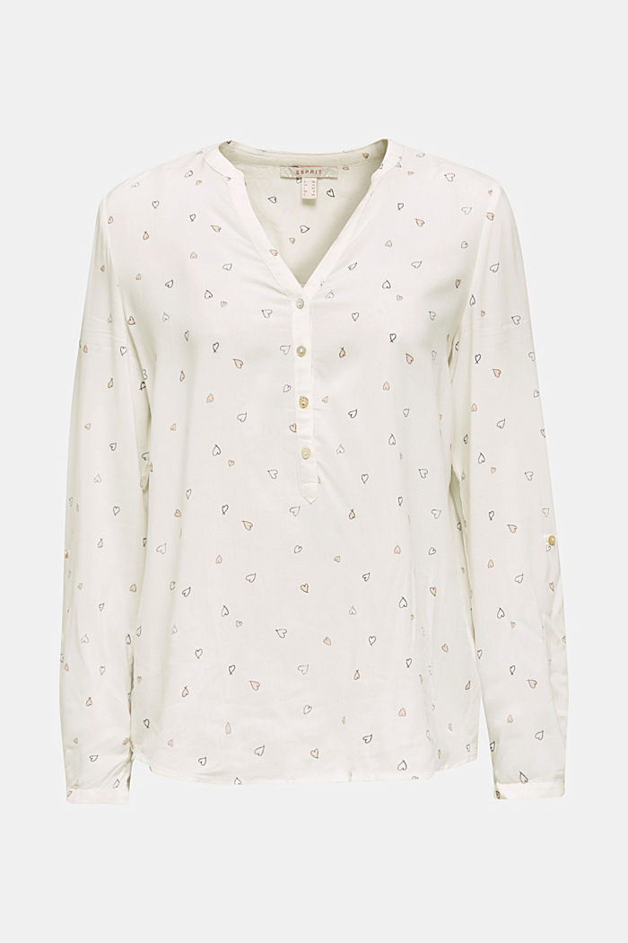 Henley blouse with a print, OFF WHITE, detail image number 6