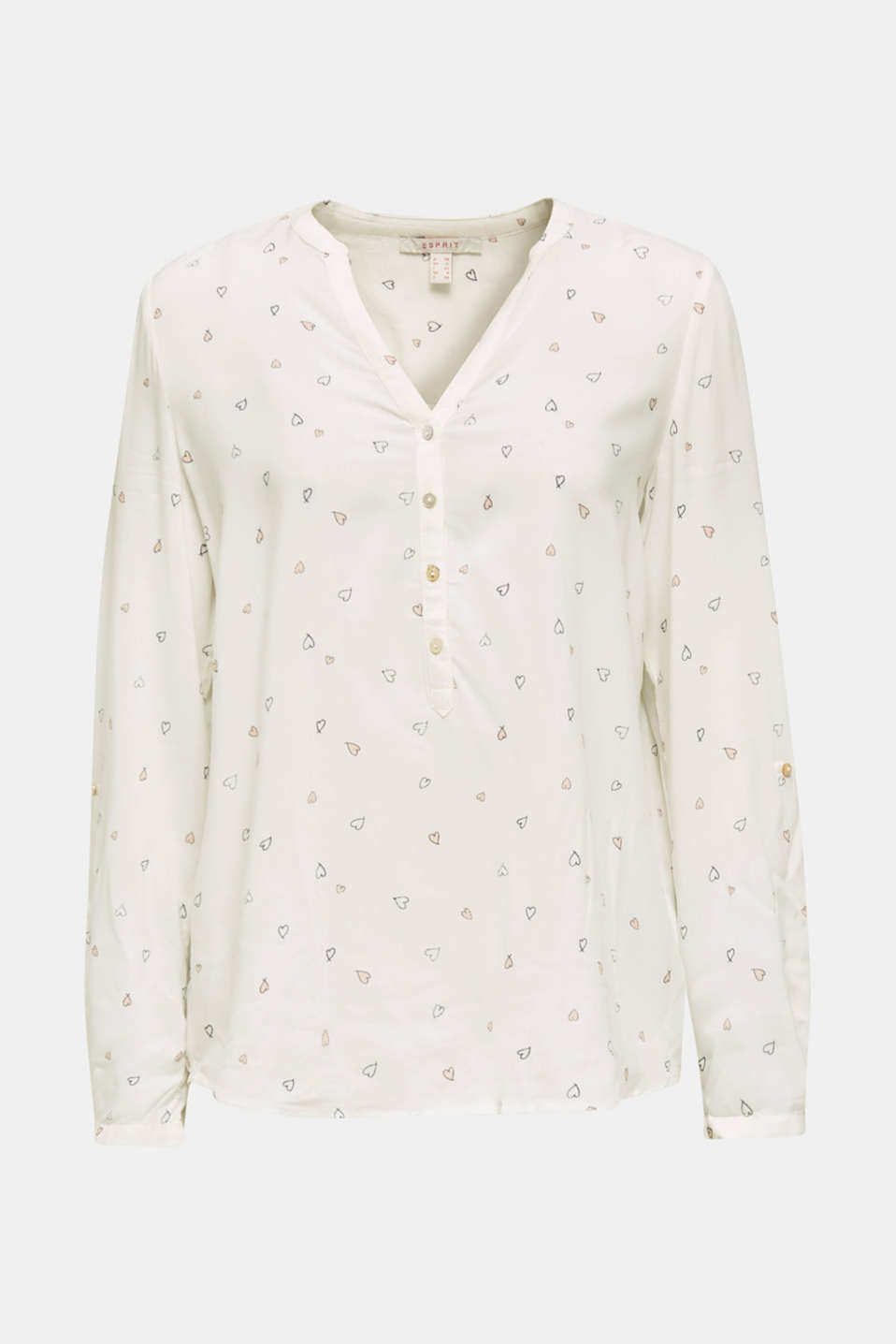 Henley blouse with an all-over print, OFF WHITE, detail image number 6