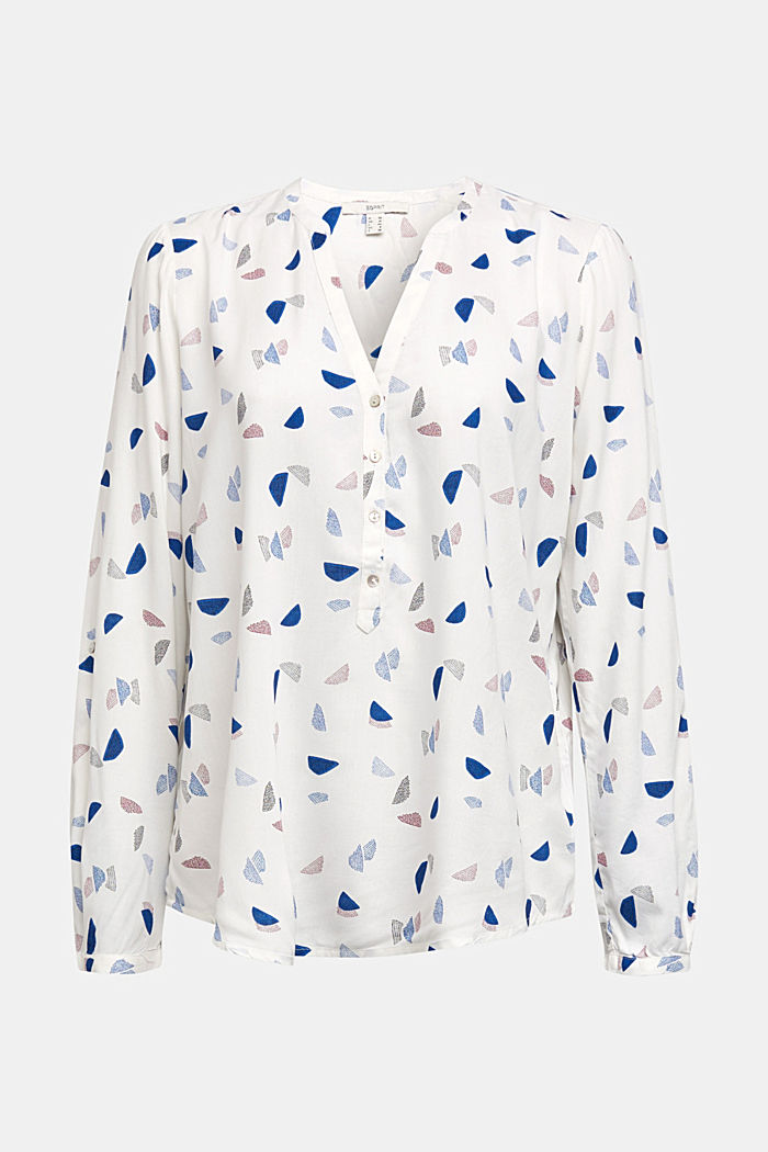 Henley blouse with a print, NEW OFF WHITE, detail image number 6