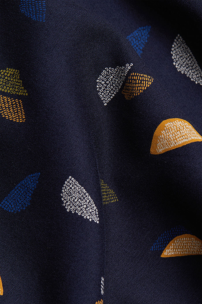Henley blouse with a print, NAVY, detail image number 4