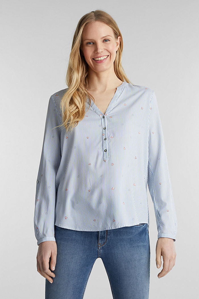 Henley-Bluse mit Print, LIGHT BLUE, detail image number 0