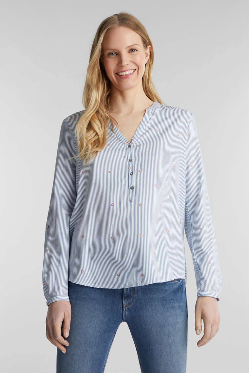 Henley blouse with an all-over print, LIGHT BLUE, detail image number 0