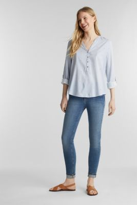 Henley blouse with an all-over print, LIGHT BLUE, detail