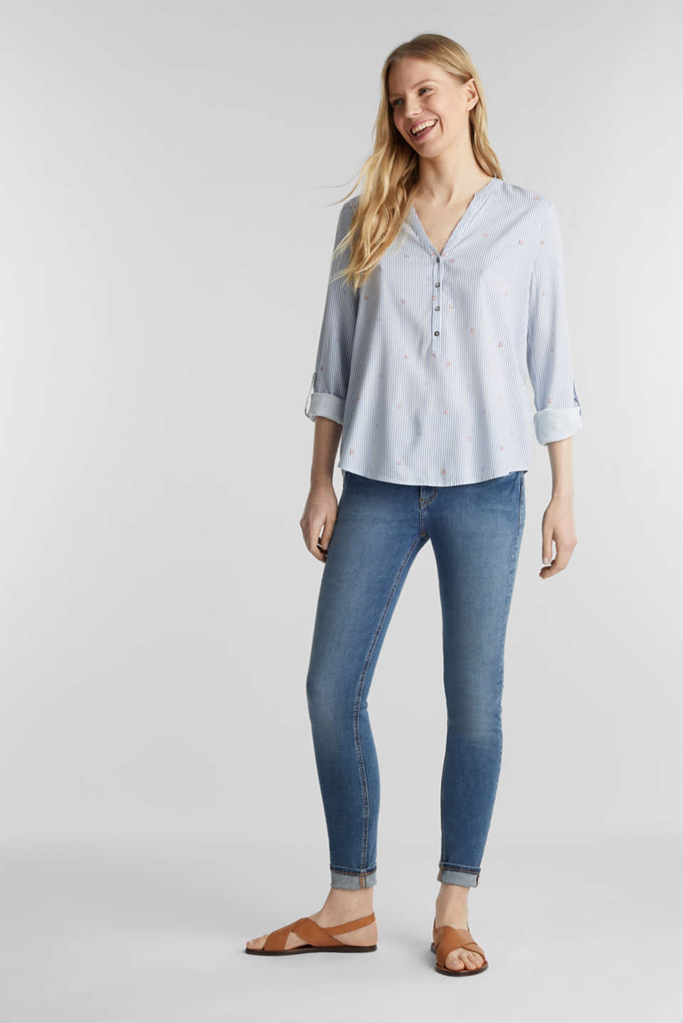 Henley blouse with an all-over print, LIGHT BLUE, detail image number 1