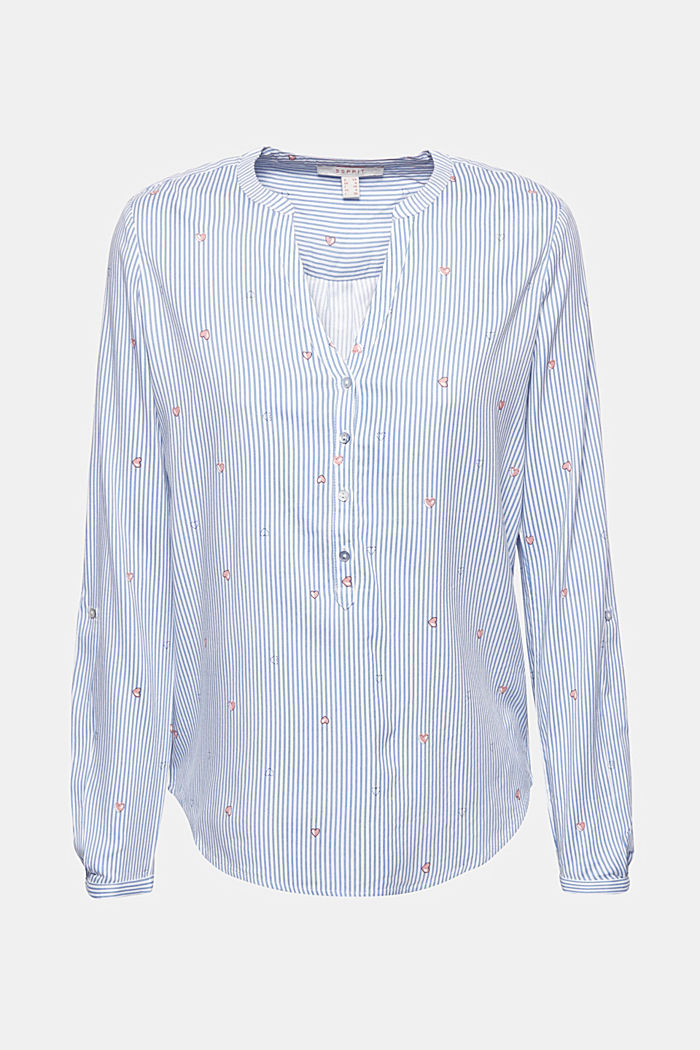 Henley-Bluse mit Print, LIGHT BLUE, detail image number 5